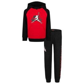 【送料無料+楽天P2倍+クーポン】nike ナイキ ジョーダン 3-7歳用サイズ 男の子用Jordan Jumpman Classic パーカーxジョガーパンツ上下2点セット(Black/Gym Red/White) スウェット プルオーバー セットアップ