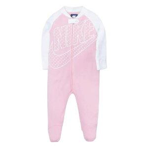【送料無料+割引クーポン】NIKE ナイキ 女の子用Futura Big Swoosh足つきカバーオール(Pink/White) ロンパース ジャンプスーツ パジャマ ワンピース 出産祝い 【楽ギフ_包装選択】