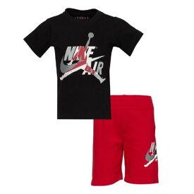 【送料無料☆P3倍+クーポン】nike ナイキ ジョーダン 2-7歳用 男の子用JORDAN JUMPMAN CLASSICS Tシャツxショートパンツ上下2点セット(Black/White/Gym Red) セットアップ ジョガーパンツ