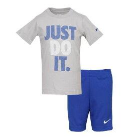 【送料無料☆P3倍+クーポン】nike ナイキ 2-7歳用 男の子用JUST DO IT Tシャツxショートパンツ上下2点セット(Grey/Game Royal) セットアップ ジョガーパンツ 【楽ギフ_包装選択】