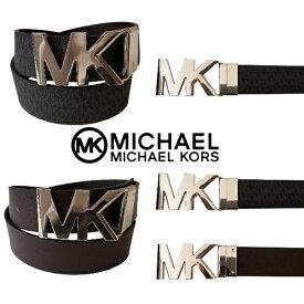 【送料無料+5%割引クーポン配布中】 MICHAEL KORS マイケルコース ユニセックスMKシルバーバックルMKロゴリバーシブルファッションベルト(Black Logo/Chocolate) 小物 アクセサリー 【楽ギフ_包装選択】