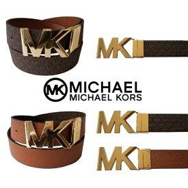 【送料無料+最大4%クーポン対象】MICHAEL KORS マイケルコース ユニセックスMKゴールドバックルMKロゴリバーシブルファッションベルト(Chocolate Logo/Brown) 小物 アクセサリー 【楽ギフ_包装選択】