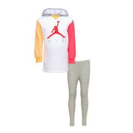 【送料無料+マラソンP5倍+クーポン】 nike ナイキ ジョーダン 女の子用Jordan AIR PULLOVER DRESS 上下2点セット(Carbon Heather) 子供用スウェット ジャージ パーカー セットアップ 誕生日プレゼント
