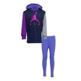【送料無料+マラソンP5倍+クーポン】 nike ナイキ ジョーダン 女の子用Jordan AIR PULLOVER DRESS 上下2点セット(Blackened Blue) 子供用スウェット ジャージ パーカー セットアップ 誕生日プレゼント
