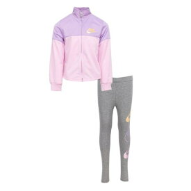 【送料無料+マラソンP5倍+クーポン】 nike ナイキ 女の子用FUTURA STACK TRICOT ジャケット & レギンス 上下2点セット(Carbon Heather/Violet Star) 子供用スウェットトレーナー 子供服