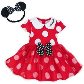 Disney ディズニー Minnie Mouse 女の子用ミニーマウス赤水玉模様フリルスカート付きボディースーツ2点セット 立体リボン付きヘッドバンド ロンパース パジャマ 【ラ・クーポンで送料無料】【楽ギフ_包装選択】
