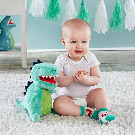 ベビーアスペン babyaspen 男の子用恐竜さんのぬいぐるみとカラフルソックス2足セット ベビーシャワー 靴下 出産祝い 【ラ・クーポンで送料無料】【楽ギフ_包装選択】