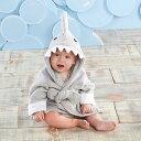 ベビーアスペン 【シャークフード付きバスローブ】 男の子用グレーハッピーシャークタオル地フード付きバスローブ 出産祝い babyaspen …