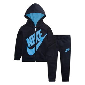 【送料無料+楽天P2倍+クーポン】 nike ナイキ 男の子用大きなロゴがCOOLなSportswear Futuraフリースパーカー上下2点セット(Obsidian) セットアップ ジョガーパンツ