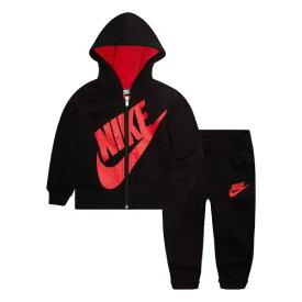【送料無料+楽天P2倍+クーポン】 nike ナイキ 男の子用大きなロゴがCOOLなSportswear Futuraフリースパーカー上下2点セット(Black) セットアップ ジョガーパンツ