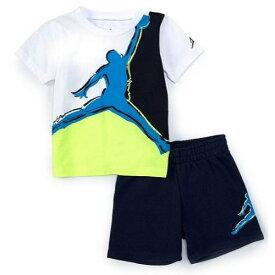 【送料無料+マラソンP5倍+クーポン】 nike ナイキ ジョーダン 男の子用Jordan Painted Jumpman Muscle半袖Tシャツ上下2点セット(Obsidian/Volt) セットアップ ジョガーパンツ
