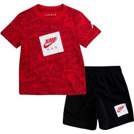 【送料無料+マラソンP5倍+クーポン】 nike ナイキ ジョーダン 男の子用Jordan Jumpman AOP Tシャツ上下2点セット(Black/Gym Red) セットアップ 半袖トップス ボトムス 出産祝い