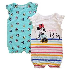 【送料無料+マラソンポイント10倍】 Disney ディズニー Minnie Mouse 女の子用虹色ボーダーミニーマウス半袖ロンパース2枚セット カバーオール 出産祝い セット商品 ワンピース