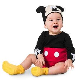 Disney ディズニー Mickey Mouse 男の子用オーガニックコットンミッキーマウスボディースーツ2点セット 帽子 ベビーキャップ ロンパース パジャマ ベビーシャワー 【ラクーポンで送料無料】【楽ギフ_包装選択】