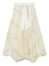 エンブロイダリーレーススカート Lily Brown リリーブラウン スカート ロングスカート ホワイト ブラック ベージュ【送料無料】[Rakuten Fashion]