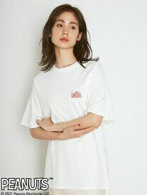【SNIDEL meets PEANUTS】Tシャツ SNIDEL スナイデル カットソー スウェット ホワイト ブラック ピンク【送料無料】[Rakuten Fashion]