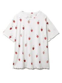 ストロベリーモチーフTシャツ gelato pique ジェラートピケ インナー/ナイトウェア ルームウェア/トップス ホワイト ピンク【送料無料】[Rakuten Fashion]