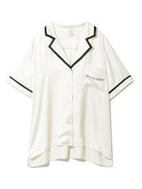 サテンラインシャツ gelato pique ジェラートピケ インナー/ナイトウェア ルームウェア/トップス ホワイト【送料無料】[Rakuten Fashion]