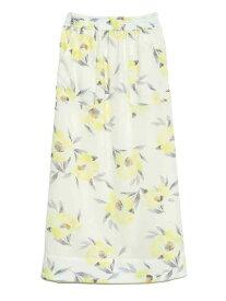フローラルIラインスカート Lily Brown リリーブラウン スカート ロングスカート ホワイト ブラック ブルー【送料無料】[Rakuten Fashion]