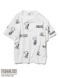 【PEANUTS】モノグラムジャガードプルオーバー gelato pique ジェラートピケ インナー/ナイトウェア ルームウェア/トップス ホワイト グレー ピンク【送料無料】[Rakuten Fashion]