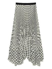 ギンガムチェックプリーツスカート Lily Brown リリーブラウン スカート ロングスカート ブラック ホワイト ピンク【送料無料】[Rakuten Fashion]