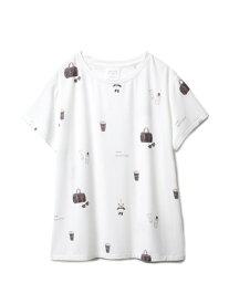 [Rakuten Fashion]フェイバリット柄Tシャツ gelato pique ジェラートピケ インナー/ナイトウェア ルームウェア/トップス ホワイト ピンク【送料無料】