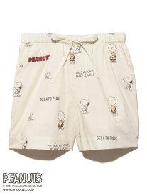 【PEANUTS】モノグラムショートパンツ gelato pique ジェラートピケ インナー/ナイトウェア ルームウェア/ボトムス ホワイト ブルー【送料無料】[Rakuten Fashion]
