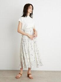 リボンジャガードプリントスカート SNIDEL スナイデル スカート ロングスカート ホワイト【送料無料】[Rakuten Fashion]