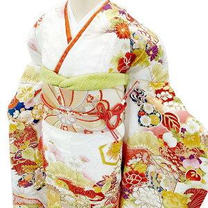 仕立て付き正絹お振袖フルセット32点f-504袴プレゼント!(ホワイト白丹後ちりめん京友禅セット一式成人式卒業式結婚式)