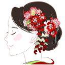 髪飾り 二点セット 赤 ピンク つまみ細工 かんざし wk-226 成人式 振袖 卒業式 浴衣 花かんざし フラワー ヘアーアク…