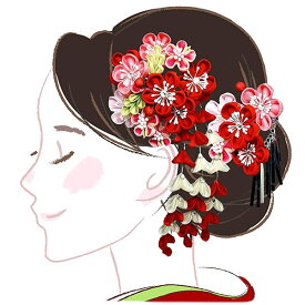 髪飾り 二点セット 赤 ピンク つまみ細工 かんざし wk-226 成人式 振袖 卒業式 浴衣 花かんざし フラワー ヘアーアクセサリー