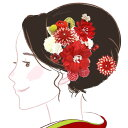 髪飾り 3点セット kk-055赤 レッド 花かんざし 組紐 成人式 振袖 浴衣 卒業式 あす楽