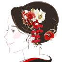 髪飾り2点セット かんざし 赤 白 つまみ細工 kk-352 コーム型 成人式 振袖 卒業式 花 つまみ細工