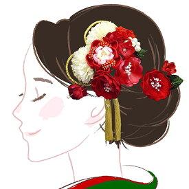 髪飾り かんざし大小2点セット フラワー 白赤  kk-006 コーム型 振袖 成人式 【楽ギフ_包装】【楽ギフ_メッセ】