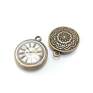 2個 アンティーク風懐中時計のチャーム 高品質 金古美