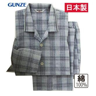 郡是(GUNZE)紳士睡衣長袖子長褲子棉100%日本製造高島收縮(S/M/L)