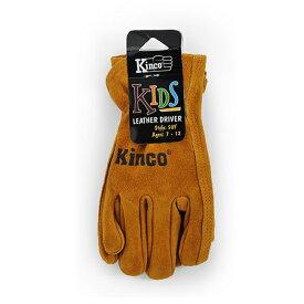 XSサイズ 牛革グローブ Kids & Youth's Cowhide Driver Gloves No.50KM 革手袋 本革 ワークグローブ 子供用 手袋 kinco キンコ 三冨DZ 送料無料 メール便