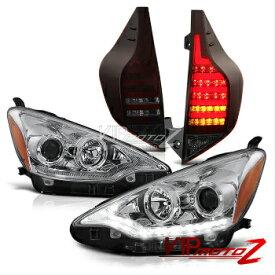 """トヨタ アクア ヘッドライト 2012-2014 Toyota Aqua NHP10 Prius C """"WAVEY LED"""" Headlight Red Smoke Tail Lights 2012-2014トヨタアクアNHP10プリウスC」ウェービーLED """"ヘッドライトレッドスモークテールライト"""
