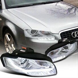 アウディ ヘッドライト 2006-2008 Audi A4 Projector Headlights W/BMW Style Led DRL Chrome SpecD Tuning 2006-2008アウディA4プロジェクターヘッドライトW / BMWスタイルのLed DRLクロームSpecDチューニング