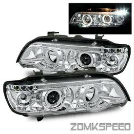 BMW ヘッドライト For 2001-2004 BMW E53 X5 Chrome Halo/LED Eyelids Left/Right Projector Headlights 2001-2004 BMW E53 X5クロームヘイロー/ LEDまぶた左/右プロジェクターヘッドライトのための