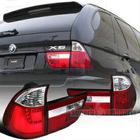 BMW テールライト 00-06 BMW X5 Chrome Red Clear LED Rear Tail Brake Lights Corner Signal Lights 00-06 BMW X5クロームレッドクリアLEDリアテールブレーキライトコーナーシグナルライト