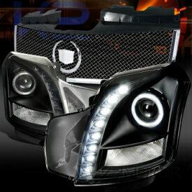 クライスラー キャデラック ヘッドライト 03-07 Cadillac CTS Black SMD LED Projector Headlights+Chrome Mesh Hood Grille 03-07キャデラックCTSブラックSMD LEDプロジェクターヘッドライト+クロームメッシュフードグリル