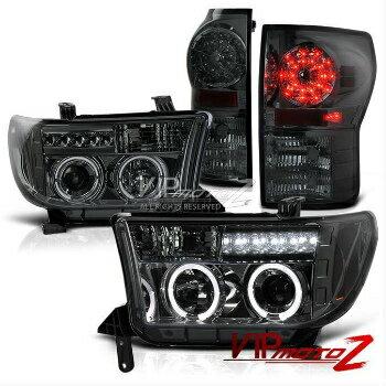 トヨタ タンドラ ヘッドライト Toyota Tundra 07-13 Smoke LED Projector Halo Smoke Headlight+SMD Tail Light トヨタタンドラ7月13日LEDプロジェクターハロー煙ヘッドライト+ SMDテールライトスモーク