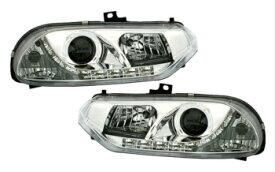 アルファロメオ ヘッドライト headlight set in clear chrome finish for Alfa Romeo 156 with LED DRL LOOK LED DRL LOOKとアルファロメオ156のための明確なクローム仕上げで設定ヘッドライト