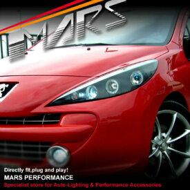 プジョー ヘッドライト Black Angel Eyes Projector Head lights for Peugeot 207 A7 Hatch Wagon プジョー207 A7ハッチワゴン用ブラックエンジェルアイズプロジェクターヘッドライト