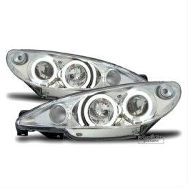 プジョー ヘッドライト Super Bright LED Angel Eye headlight Set in chrome clear FOR Peugeot 206 206CC プジョー206 206CCのための明確なクロームに設定スーパーブライトLEDエンジェルアイヘッドライト