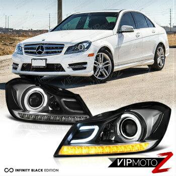 ベンツ ヘッドライト 2012-2014 Mercedes Benz W204 C250 C300 C350 C63 Black Projector Headlights L+R 2012-2014メルセデスベンツW204 C250 C300 C350 C63ブラックプロジェクターヘッドライトL + R
