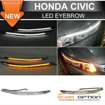 Honda Civic ヘッドライト 12-15 Honda Civic LED Eyebrow DRL Headlight Turn Signal 12-15ホンダシビックLED眉毛DRLヘッドライトウインカー