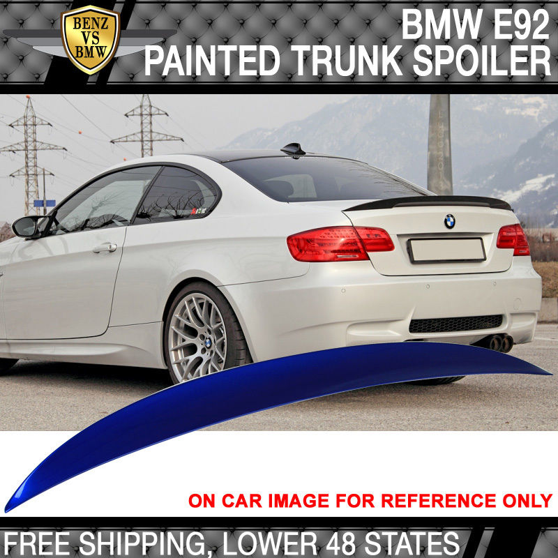USパーツ ハイキックトランクスポイラー07-13 BMW E92 2Drペイントモンテゴブルーメタリック#A51 High Kick Trunk Spoiler 07-13 BMW E92 2Dr Painted Montego Blue Metallic #A51