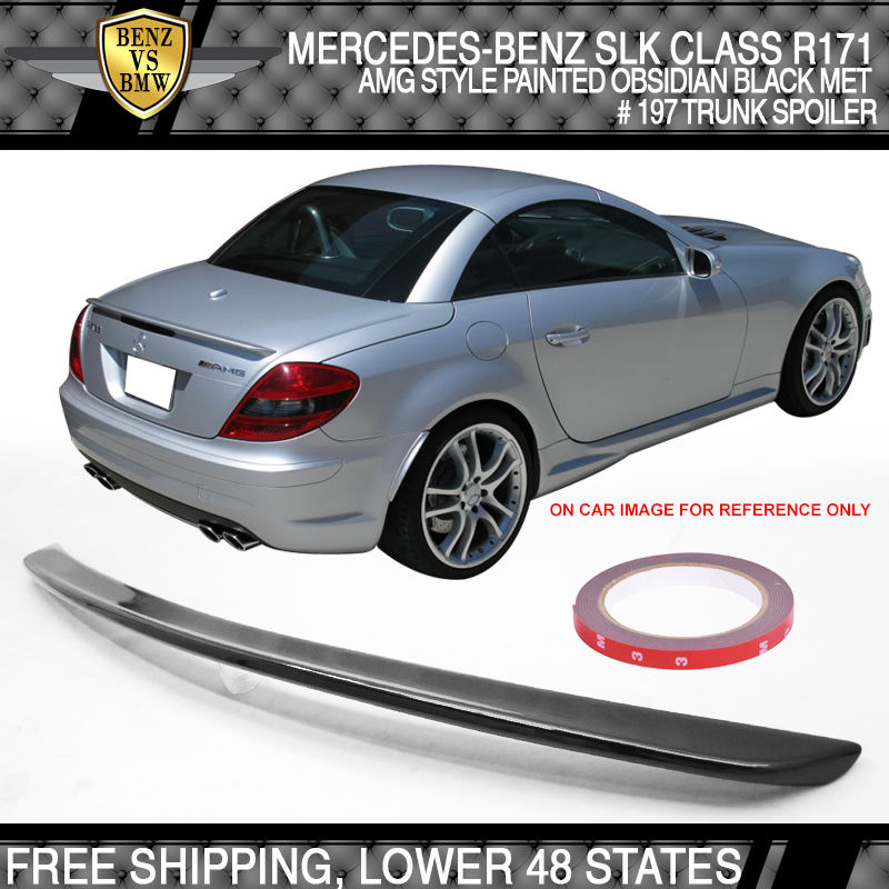 USパーツ 05-10ベンツSLK R171 AMGスタイル#197黒曜石黒メタリック塗装トランク・スポイラー 05-10 Benz SLK R171 AMG Style #197 Obsidian Black Metallic Painted Trunk Spoiler